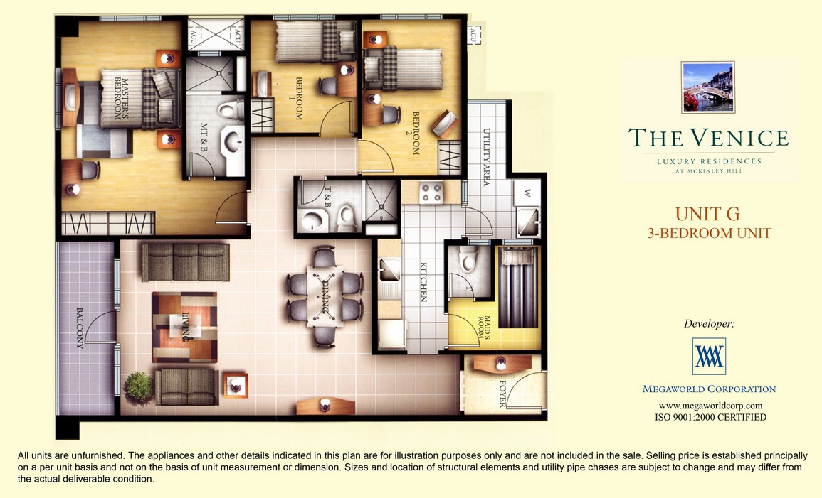 Unit g 3 bedroom unit megaworld condominiums for 3 bedroom unit designs