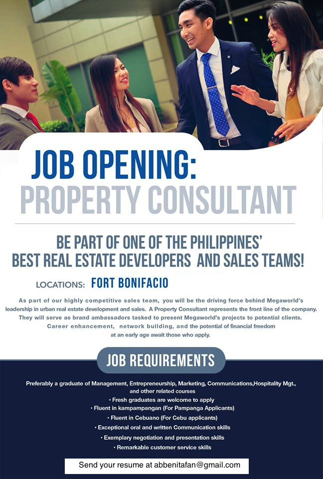 Megaworld Real estate agent Hiring Abbe Nitafan