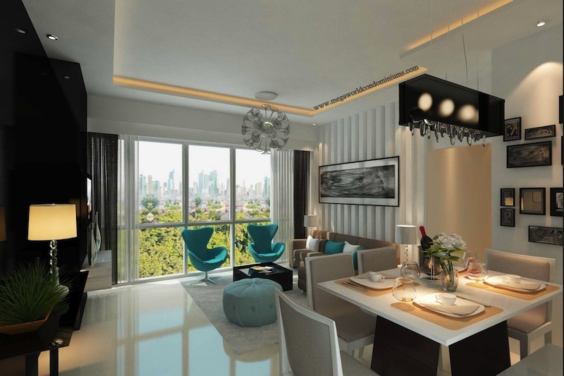 Park suites unit v living and dining megaworld condominiums for Condo living room ideas philippines